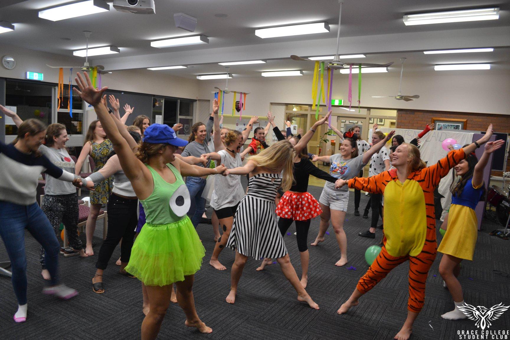 Residents practicing Disneyland themed Dancefest performance