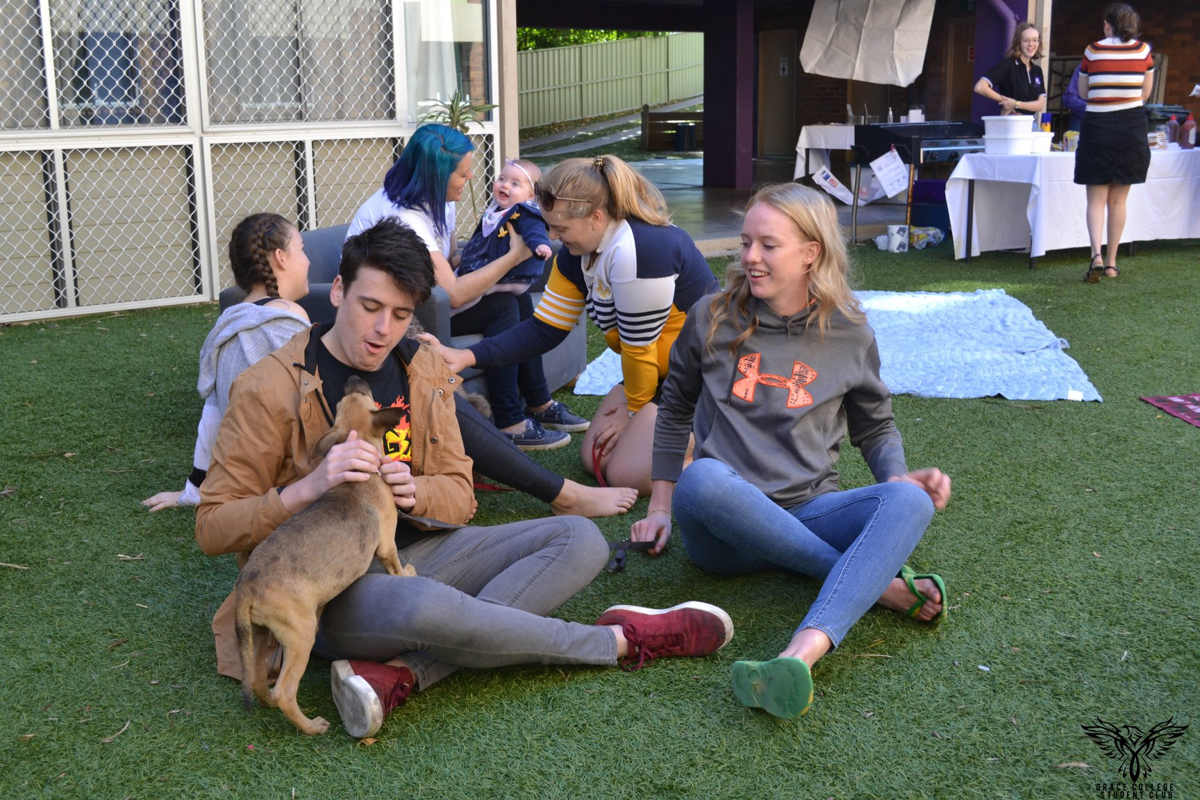 Students site with puppies at Puppies & Pancakes