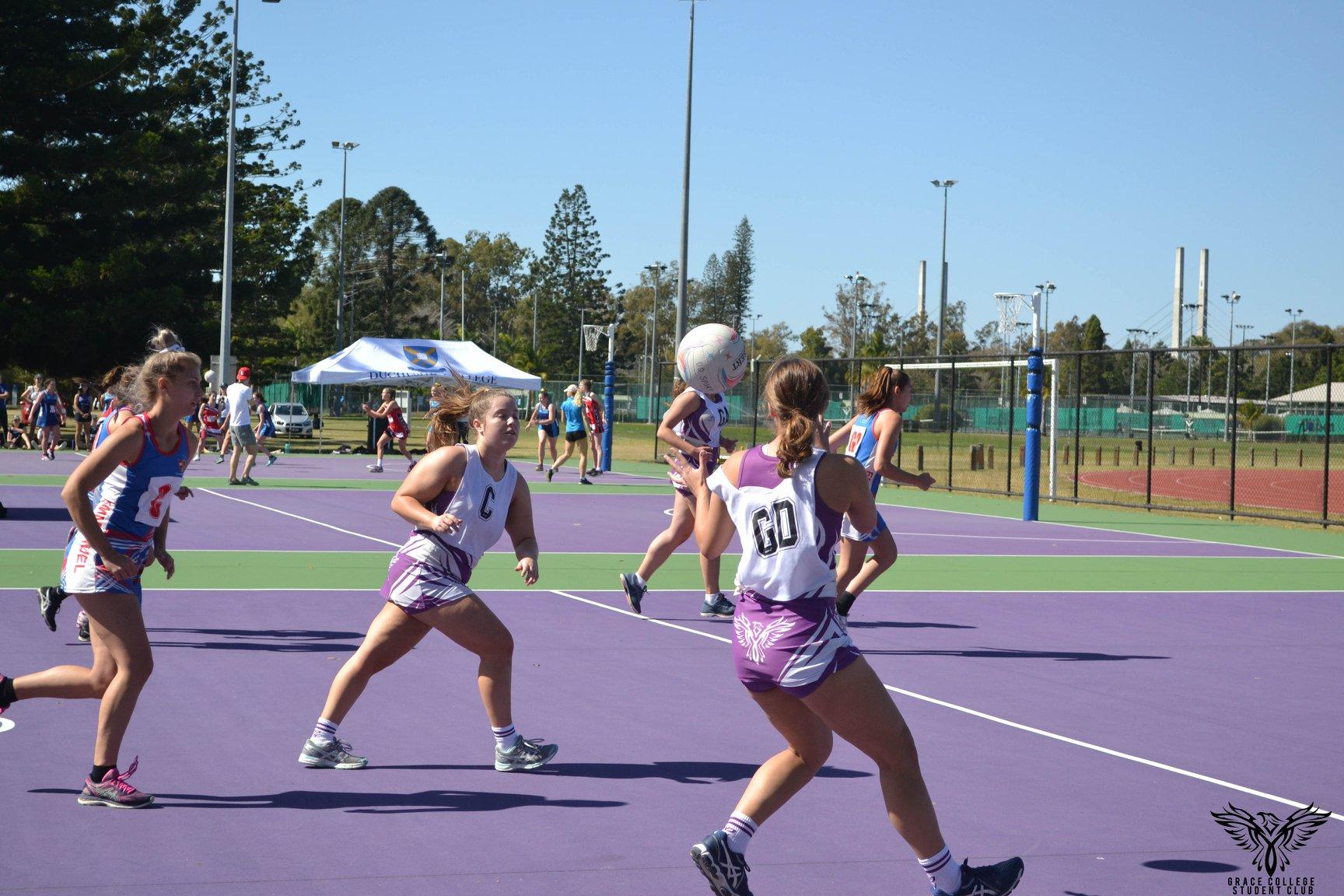 Playing netball