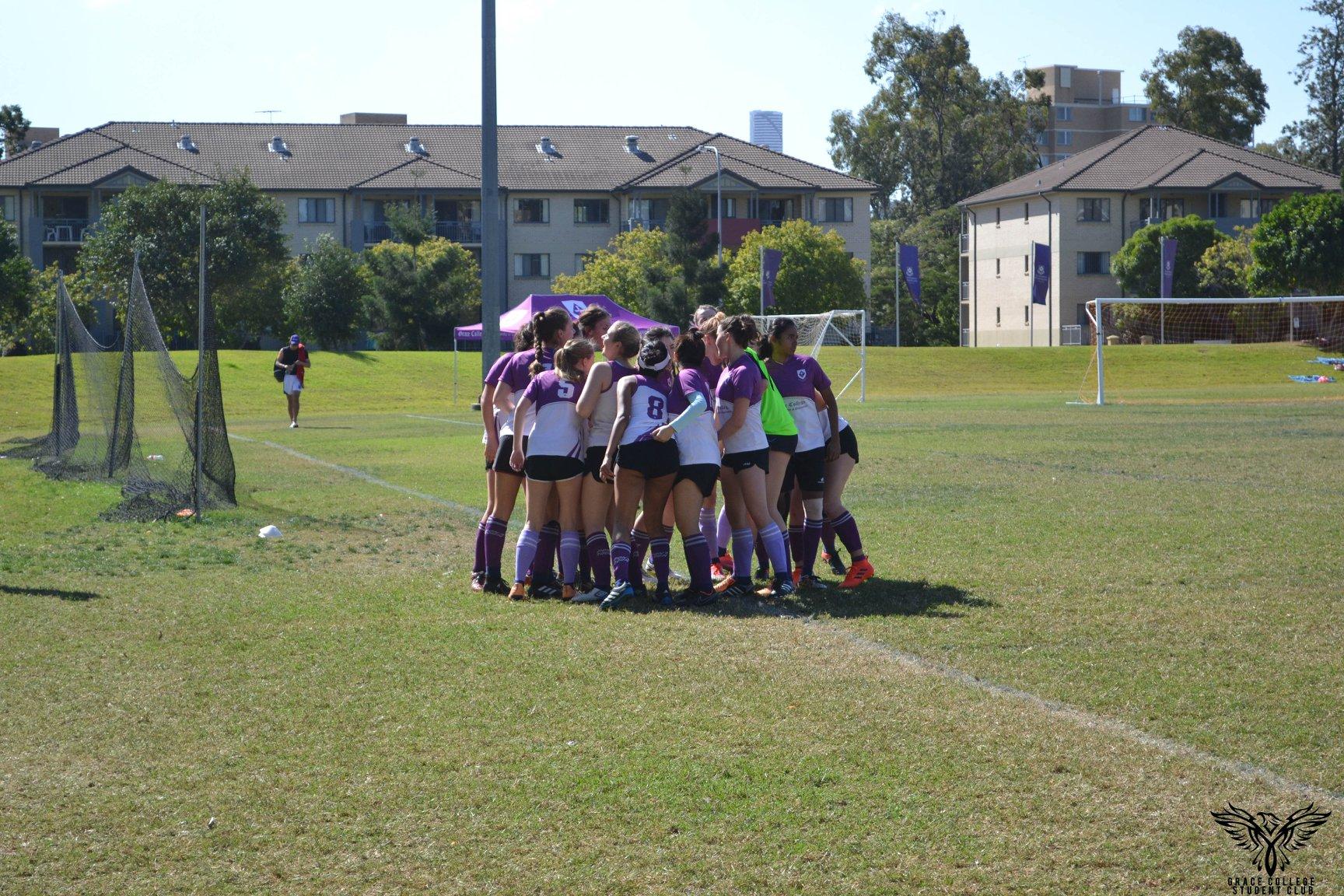 A soccer huddle
