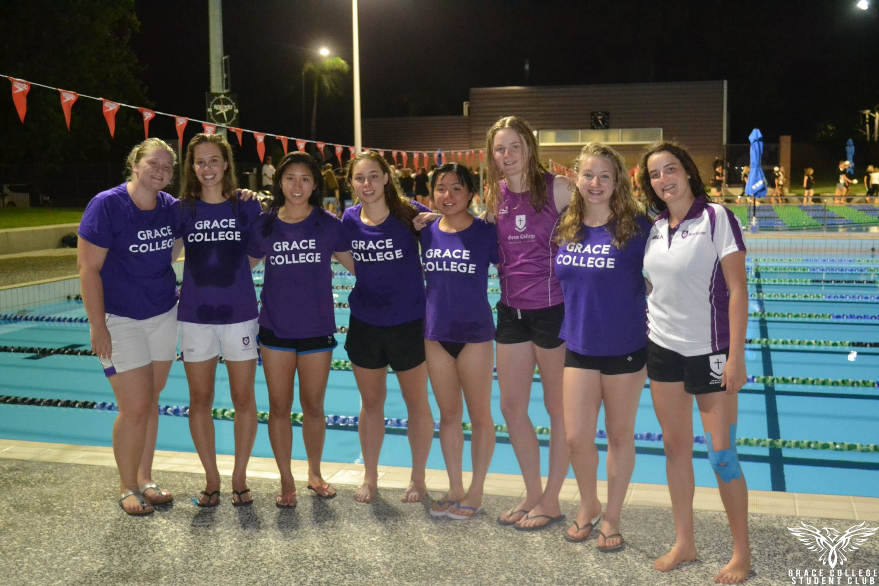 Grace College supporters at swimming carnival