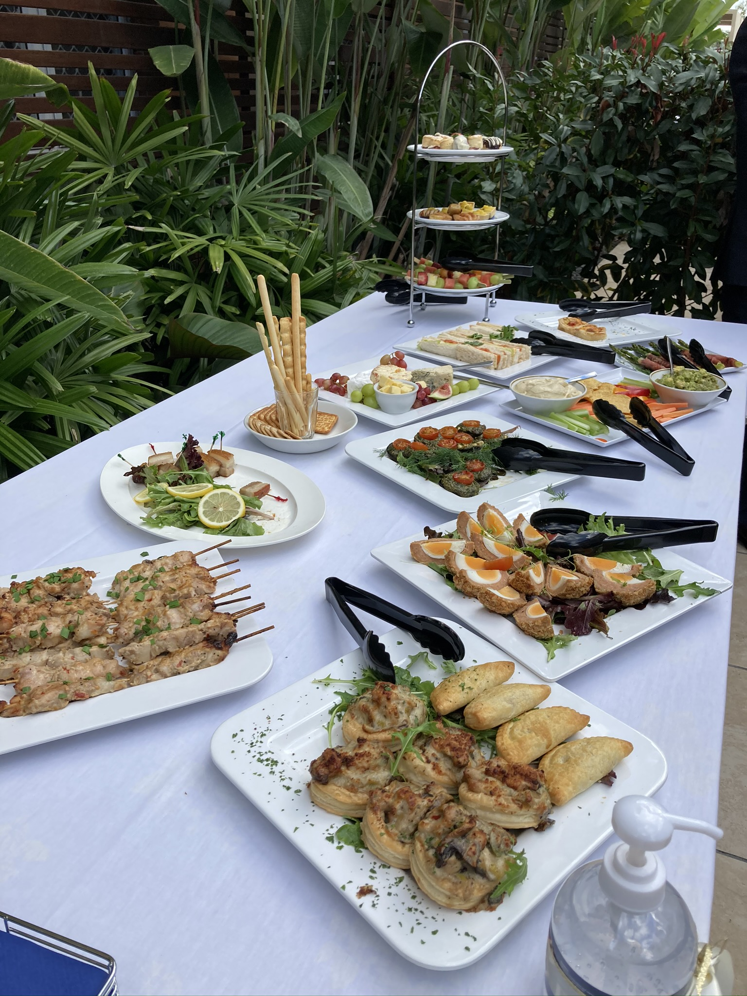 A selection of buffet food items
